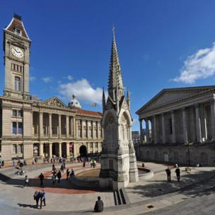 Chamberlain Square in Birmingham, including the Town Hall and Museum and Art Gallery