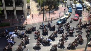 Motorbike protest in Athens. Photo: Naomi McCarthy