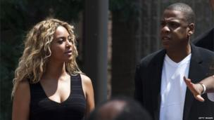 Singer Beyonce and husband Jay Z at the New York rally a week after the verdict of not guilty handed down to George Zimmerman over the death of black teenager Trayvon Martin, 20 July 2013