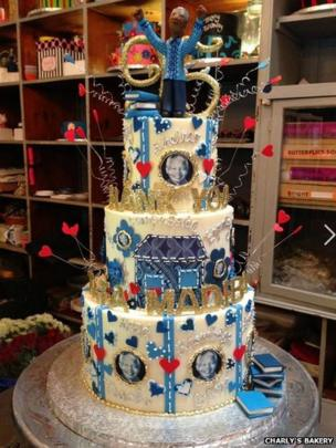 Charly's Bakery in Cape Town created this three-tiered cake for Nelson Mandela's 95th birthday
