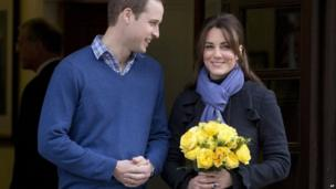 The Duke and Duchess of Cambridge as she leaves the King Edward VII hospital in central London