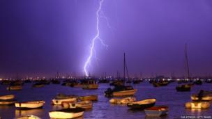 Lightning strikes over Poole Harbour