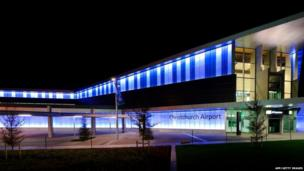 Christchurch Airport shows the airport lit in blue.