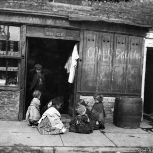 Shop front offering coals for sale, children at play, Sandgate, Edgar Lee, c 1892