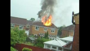 Viewer's footage of house on fire