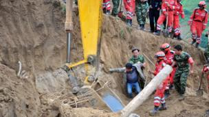 Rescue service at work in in Yongguang township
