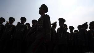 North Korean military officers gather at the cemeteries of fallen fighters of the Korean People's Army (KPA)