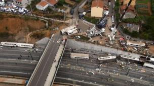 This aerial image taken from video shows a general view of the site of a train accident in Santiago de Compostela, Spain