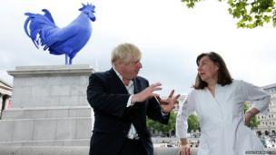 Boris Johnson, Mayor of London and German artist Katharina Fritsch unveil Hahn/Cock sculpture
