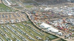 Aerial shot of Great Dorset Steam Fair
