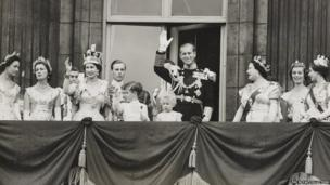 The Royal Family on the balcony of Buckingham Palace after the Coronation