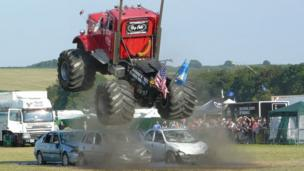 Monster truck stunt display at Great Dorset Steam Fair