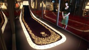 Coronation robe on display at Buckingham Palace