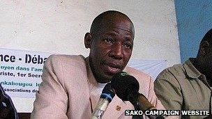Soumana Sako at a public gathering on 12 March 2011, in a picture from his campaign website