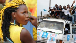 R: Union Forces for Change supporter : Unir party supporter on a minibus - both in Lome, Togo - Tuesday 23 July 2013