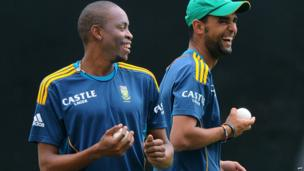 South African cricketers Aaron Phangiso (L) and Robin Peterson (R) at Pallekele International Cricket Stadium in Kandy, Sri Lanka - Thursday 25 July 2013