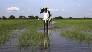 South Sudanese gunmen wading through a river in Uror county, South Sudan - Wednesday 24 July 2013