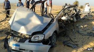 Car bomb that detonated in El-Arish in Egypt's Sinai peninsula.