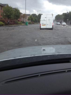 Flooding in London Road, Glasgow