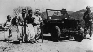 Korean refugees fleeing from the war. 19th June 1951