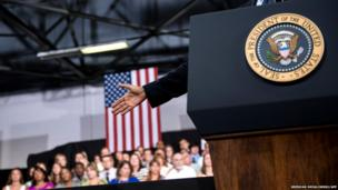 US President Barack Obama spoke at Knox College in Galesburg, Illinois