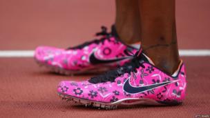 Perri Shakes-Drayton's bright pink running shoes