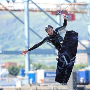 Participant at All-Ireland cable wakeboarding championships