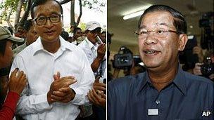 Sam Rainsy, left, and Hun Sen at polling stations