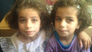 Twins at school in Zaatari