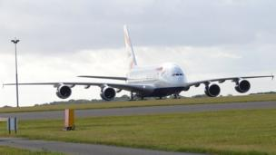 British Airways' first A380 superjumbo at Cardiff Airport