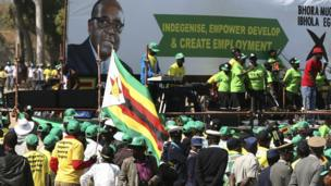 A Zanu-PF poster with indigenise spelt incorrectly
