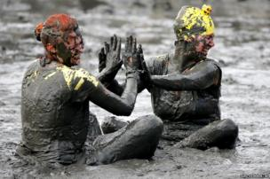 Participants at the Mudflat Olympics
