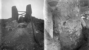 Photographs of some of the digging at Coldrum Longbarrow