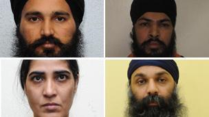 Clockwise from top left: Dilbag Singh; Mandeep Singh Sandhu: Harjit Kaur and Barjinder Singh Sangha