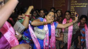 Telangana supporters cheer as they celebrate after the announcement of the separate state at their party headquarters in the southern Indian city of Hyderabad July 30, 2013.