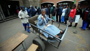 Zimbawean Chizema Najika after voting at a polling station in Harare