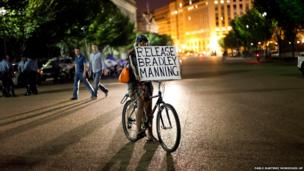 A supporter of Bradley Manning during a night time demonstration in front of the White House in Washington