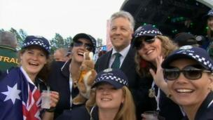 Northern Ireland First Minister Peter Robinson posed with competitors