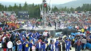 Acrobatic display at WPFG opening ceremony