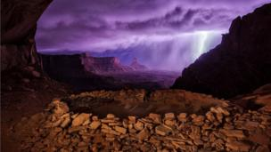 """""""Thunderstorm at False Kiva"""" second prize photograph taken by Max Seigal of Boulder, Colorado"""