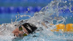 "New Zealand's Lauren Boyle competes in the heats of the women""s 800-metre freestyle swimming event in the FINA World Championships at Palau Sant Jordi in Barcelona on August 2, 2013."