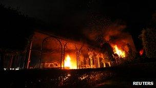 US Consulate in Benghazi is seen in flames 11 September 2012