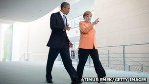 German Chancellor Angela Merkel and US President Barack Obama on June 19, 2013 in Berlin, Germany