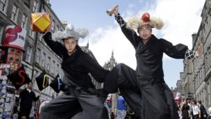 Members of Thor of the Common Man promotes their show at the Edinburgh Festival Fringe.