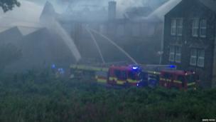 Fire engines tackle Slaithwaite blaze . Photo: James Moss
