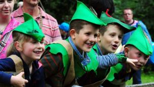 Youngsters in green hats at the annual Robin Hood Festival