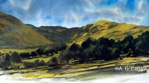 Cwm Berwyn watercolour by His Royal Highness the Prince of Wales © A G Carrick