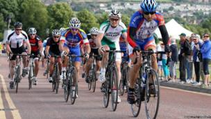 Cyclists from Spain and Northern Ireland take part in the cycling event at Stormont Estate, Belfast.