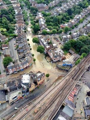 Flooding in the Herne Hill area of London following a water main burst