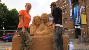 Sand sculpture being created